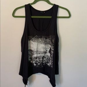Black graphic tank top